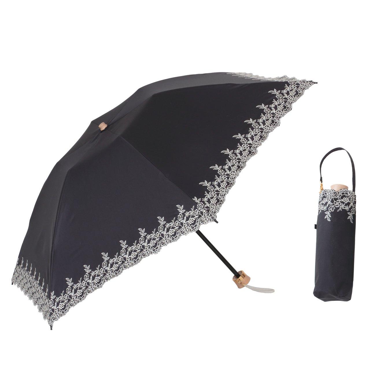 UV 遮熱 遮光 ミニ傘 花柄 晴雨兼用 遮光1級 日傘 【LIEBEN-0518】 クールプラス (ブラック) B00UMVKYV2