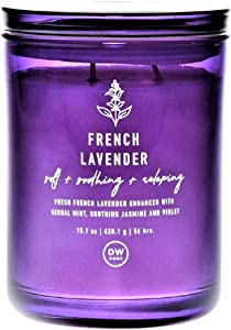 DW Home Herbaceous French Lavender Scented Candle in Large Tumbler with Lid, 15 Oz.