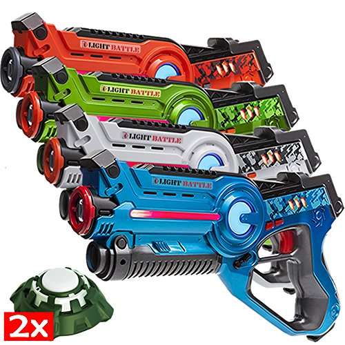Light Battle 4 Active laser tag toy guns and 2 Targets - display box...