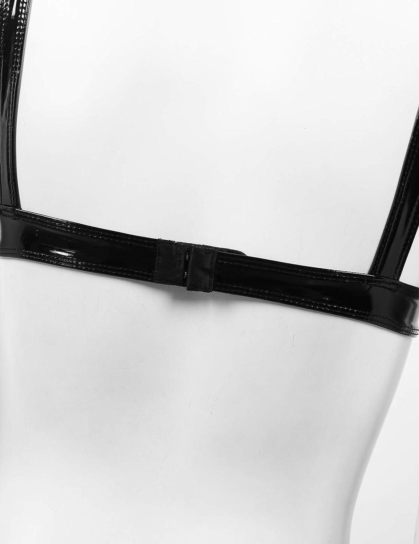 Yeahdor Womens Wetlook Wire Free Unlined Bralette Bikini Bra Top PU Leather Rave Dance Bustier Clubwear