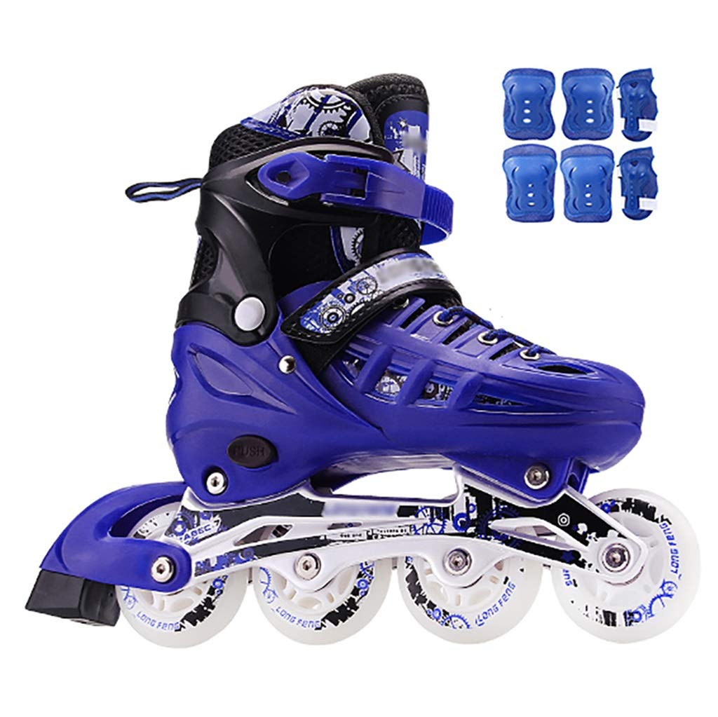 Inline skates Kids Adjustable with Full Light Up Wheels Blue Boys Girls Rollerblades Outdoor Sports Beginner Roller Skates for Adults Women Men (Color : Blue2, Size : S(30-34))