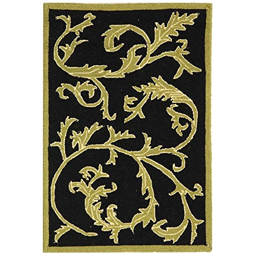 Cheap Safavieh Chelsea Collection HK307B Hand-Hooked Black Premium Wool Area Rug (1'8″ x 2'6″)