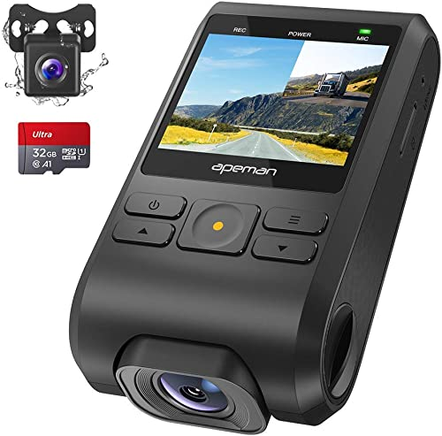 APEMAN Dash Cam, Front and Rear Camera for Cars FHD 1080P IPS Screen, Support GPS, SD Card Included, Night Vision, 170 Wide Angle, Motion Detection, Loop Recording, G-Sensor, Parking Monitor, WDR