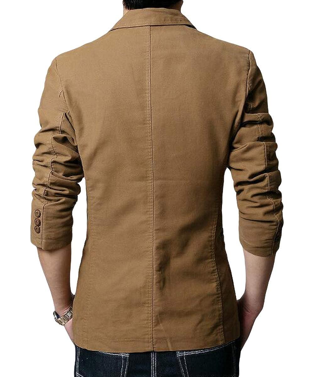 Blazer Casual para Hombre Chaquetas de Traje Slim fit Chaqueta de algodón sólido de un Solo Pecho Abrigo Chaqueta de Dos Botones Casual Blazer