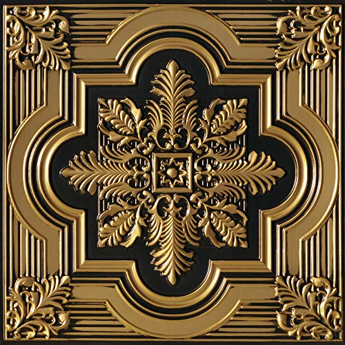 From Plain To Beautiful In Hours 206ag-24x24-25 Large Snowflake Ceiling Tile Antique Gold 25