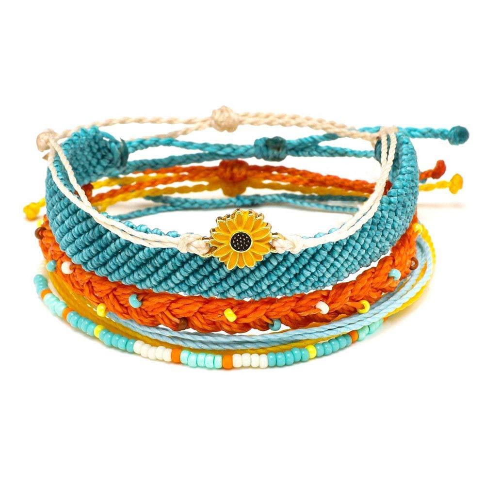 SUNSH 5PCS Boho Woven Friendship Bracelets for Women Teens Girls Kids Handmade Wrap Rope Sunflower Charm Beach Surf Braided Strings Adjustable Waterproof Back to School Gifts by SUNSH