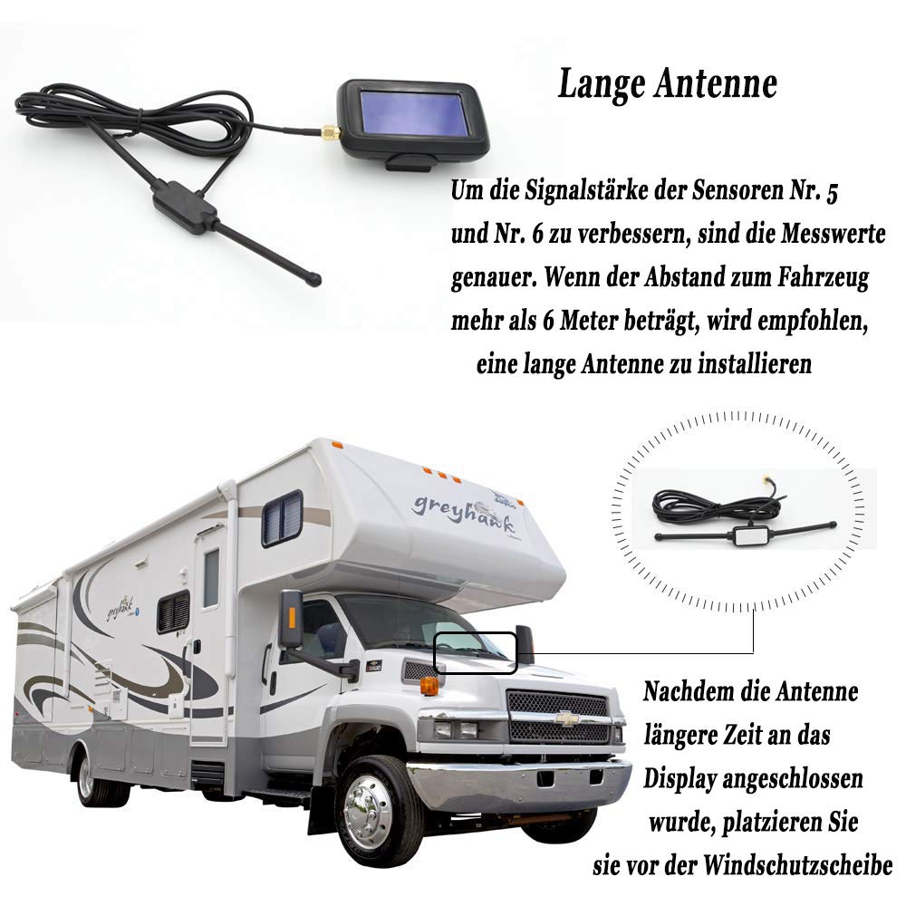 BEST4U Funk Reifendruck Kontrollsystem RDKS Pr/üfer mit 6 Sensoren TPMS f/ür RV Trailer Camper Truck