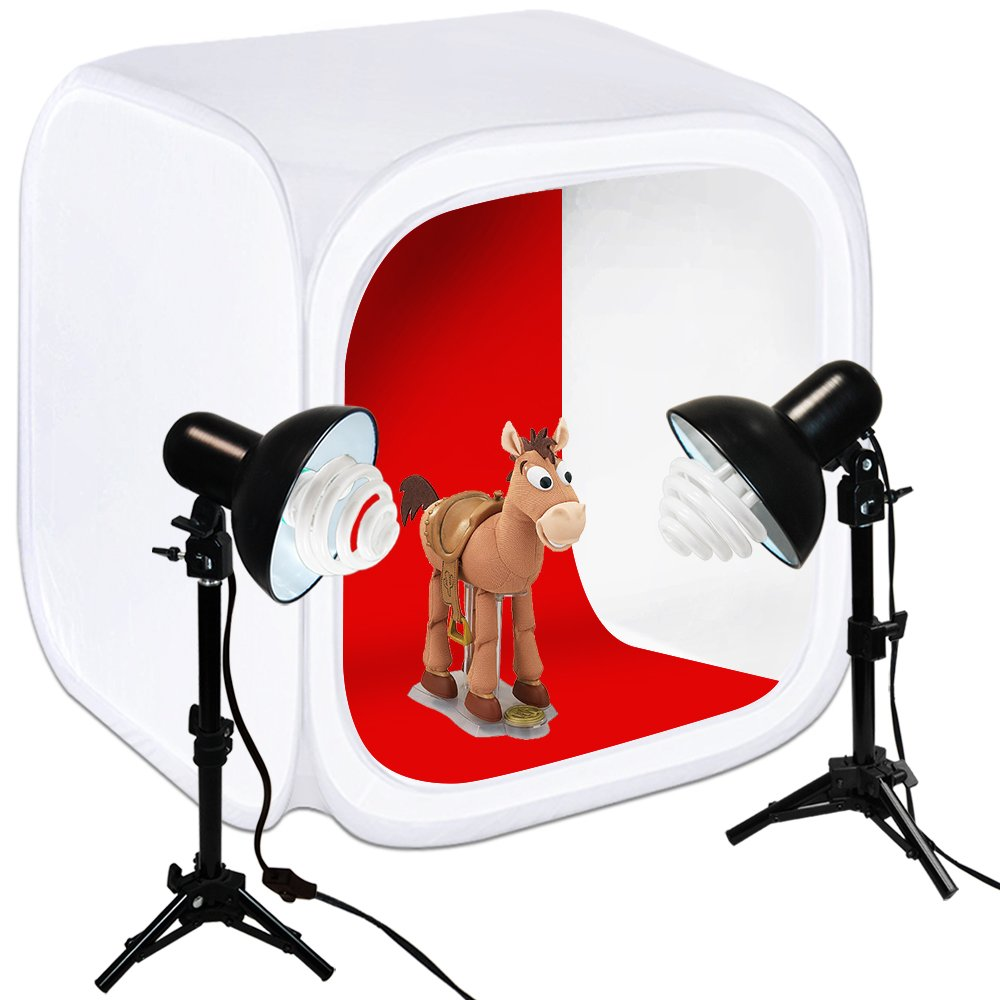 Julius Studio 30'' Cube Photo Shooting Tent with Color Backdrops, Table Top Photo Lighting Kit, Light Head Lamp, Spiral Photo Bulb, Small Light Stand Tripod, Photo Studio, JSAG266 by Julius Studio