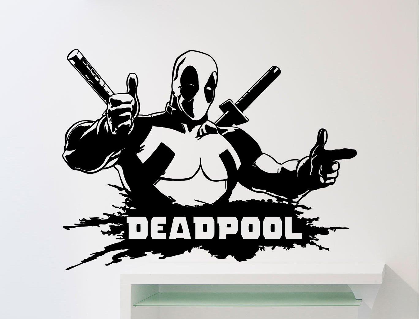 Deadpool Wall Decal Superhero DC Marvel Comics Vinyl Sticker Home Nursery Kids Boy Girl Room Interior Art Decoration Any Room Mural Waterproof Vinyl Sticker (276su)