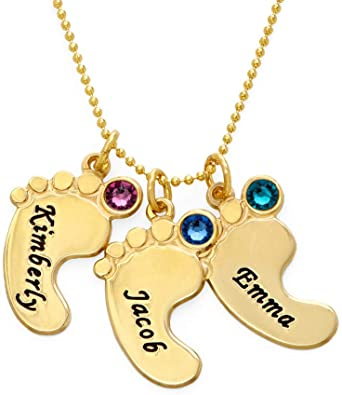 Gift for Mom FanSi Baby Feet Necklace with Birthstone Personalized Custom Engraving Family Name Birthdates