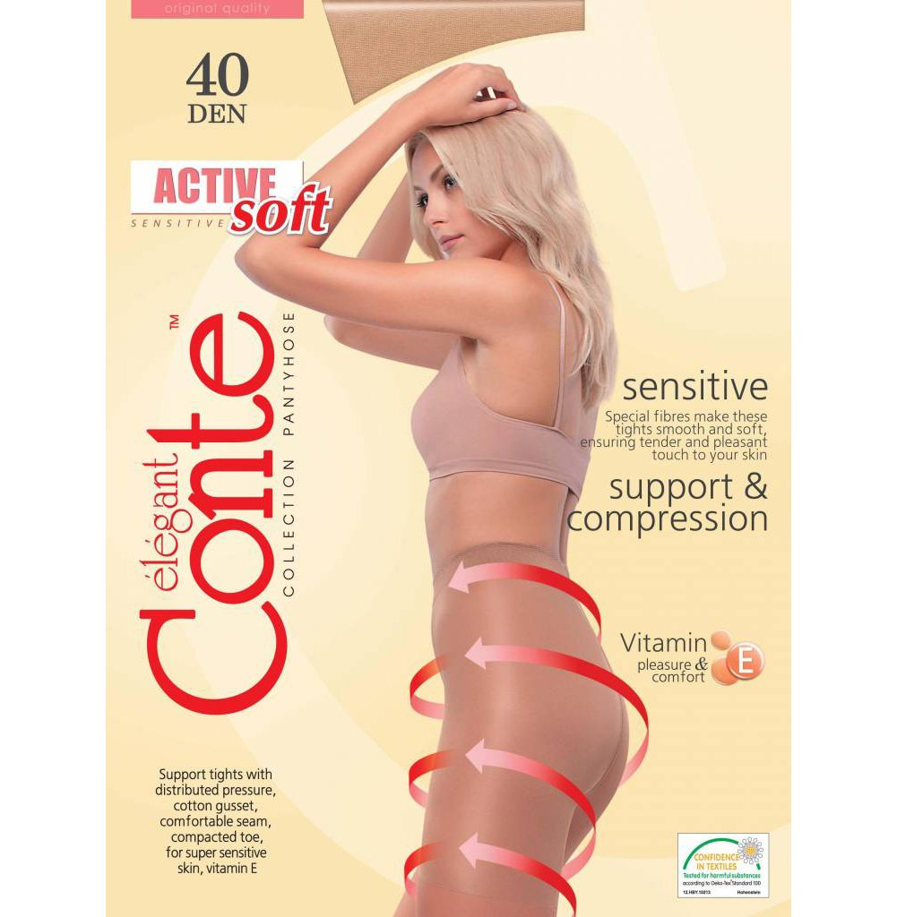 Conte Women's Support Tights with a Moderate Compression and Reinforced Shorts - Shade, Large by Conte elegant (Image #2)