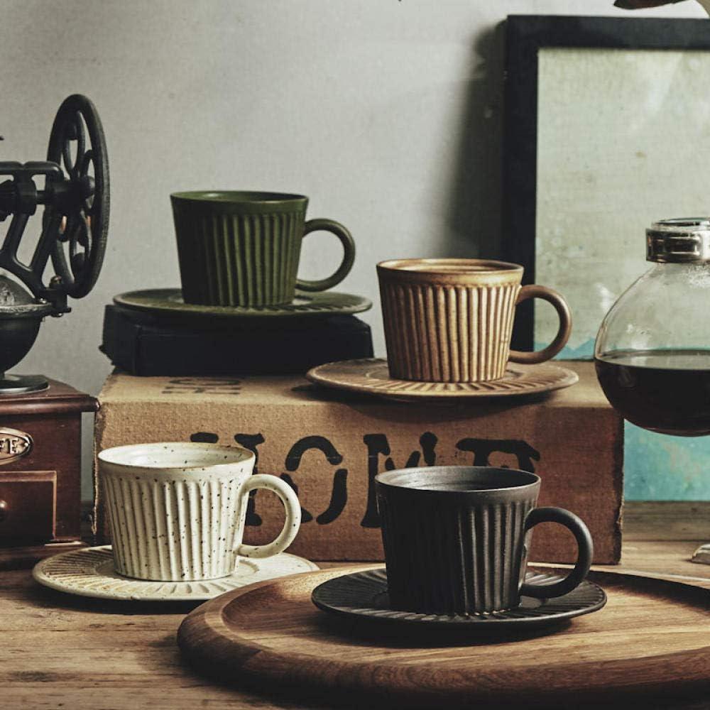 SMLZPL Servizi da caff/è Tazza di caff/è Tazza da caff/è a Righe in gres fatta a Mano 101200 ml Giallo