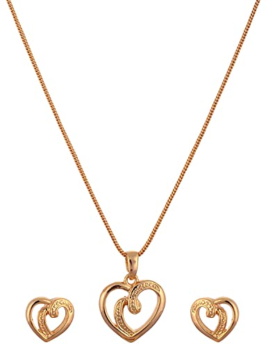 c331a38f91ac71 Buy Estelle Gold-plated Small Heart Shaped Love Pendant, Earring Necklace  Set in Neck Chain with Design for Women Online at Low Prices in India |  Amazon ...