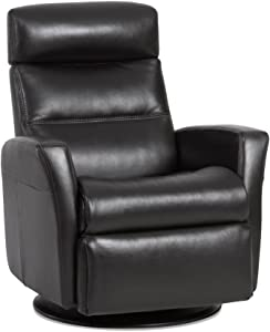 IMG Divani RG 325 Large Glider Relaxer Rocking Recliner Swivel Chair - Sauvage Charcoal Leather Manual Recline - Adjustable Headres