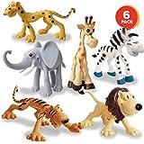 PLUSPOINT World of Cute Cartoonish Design Animal Cartoon Figurines Durable Playset Safari and Jungle Favors for Kids Boys and Girls (Set of 6)