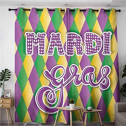 AndyTours Window Curtain Panel,Mardi Gras,Room Darkening, Noise Reducing,W84x96L,Violet Fern Green Marigold