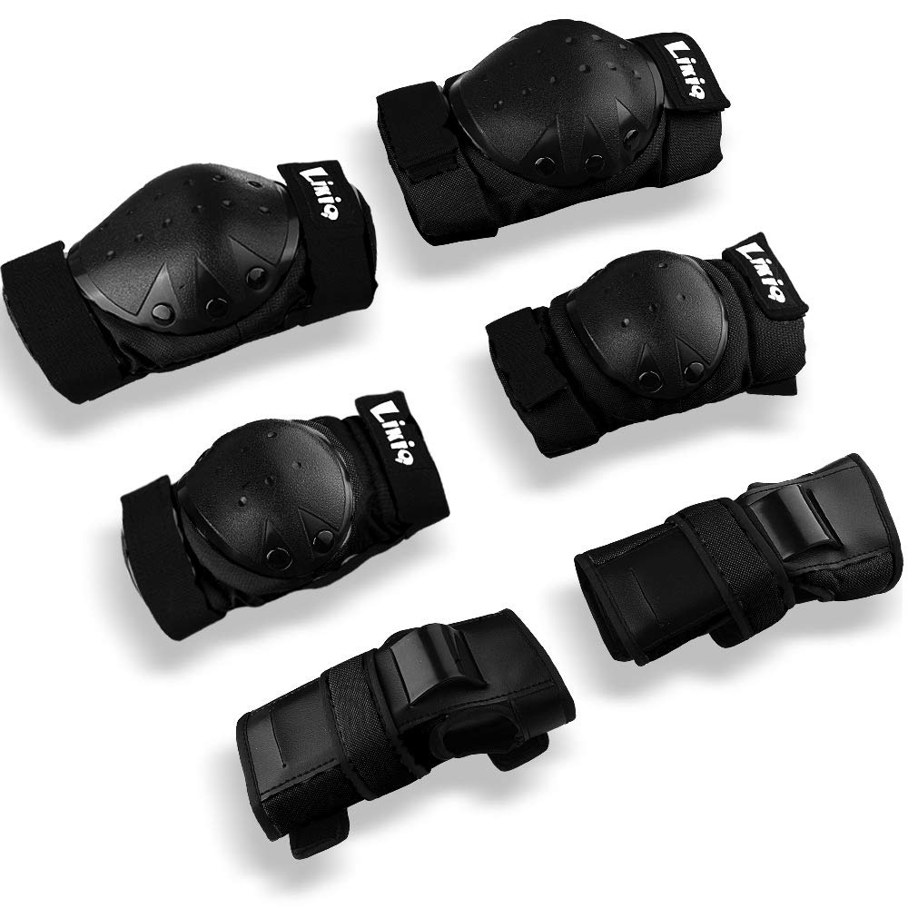 LIKIQ Kids/Youth/Adults Knee Pads Elbow Pads Wrist Guards Protective Gear Set for Skateboard Rollerblading Roller Skates Cycling BMX Bike Inline Skating Scooter Multi Sports (Black, L(46-58kg))