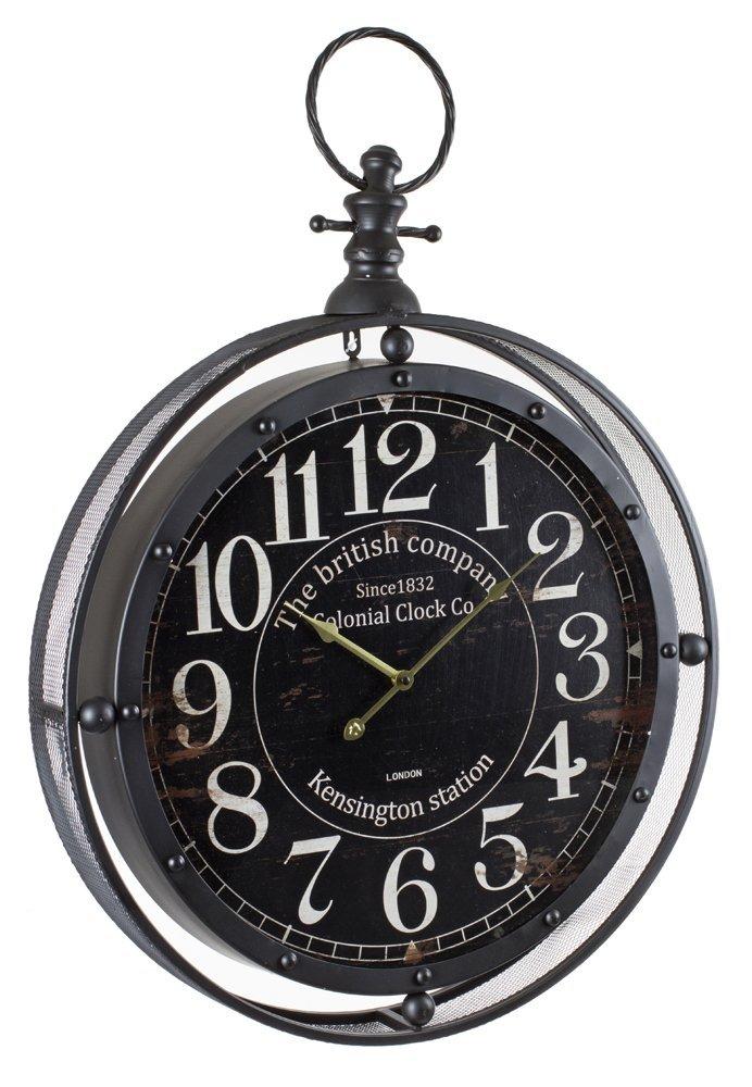 Horloge métal Gousset noir grande taille, Diamètre 74 cm, L60 x P10 x h84 cm -PEGANE