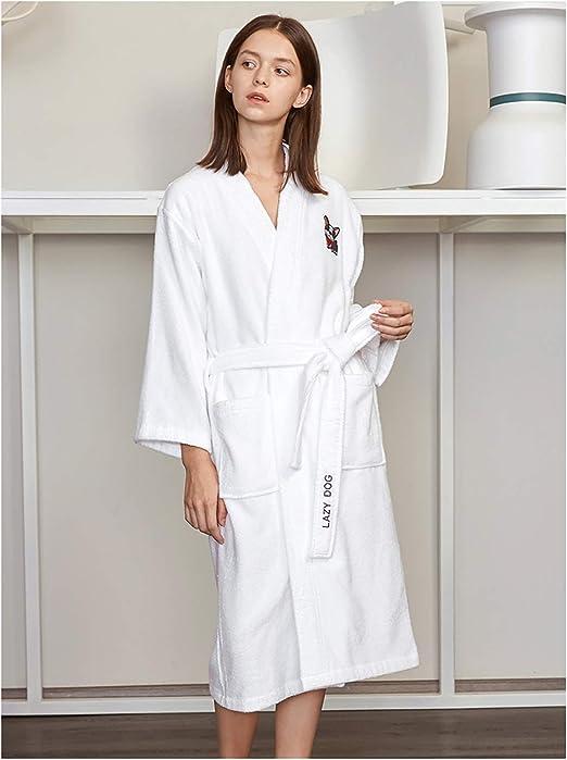 XUMING para Hombre de Las señoras de Albornoz Bata Bata de baño de Rizo 100% Vestidos Batas Toalla de algodón Mujer de los Hombres,Frenchbulldog,M: Amazon.es: Hogar