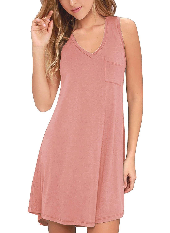 02dusty Pink KEEDONE Women's Sleeveless Pockets Casual Swing TShirt Dresses