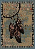Rug Empire Rustic Lodge, Dreamcatcher Area Rug, 26″ W x 39″ L, Blue Review