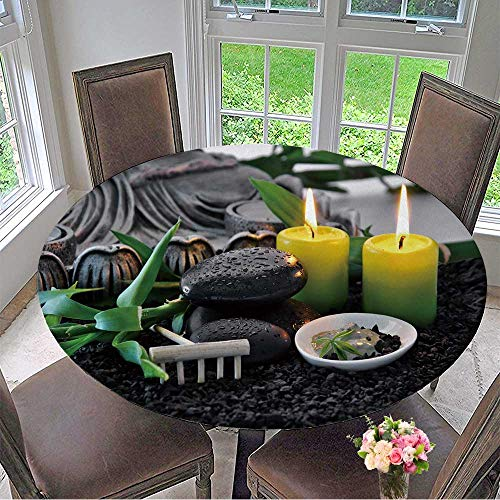 Mikihome Round Tablecloths Massage Stones with Bamboo Green Clay with Scented Candles or Everyday Dinner, Parties 47.5