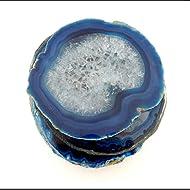 4 (FOUR) Agate Coaster - Blue Colored Agate Coasters Rock Paradise COA (AM10B2)