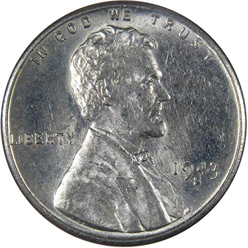 1943 S 1c Lincoln Wheat Steel Cent Penny US Coin AU About Uncirculated ()