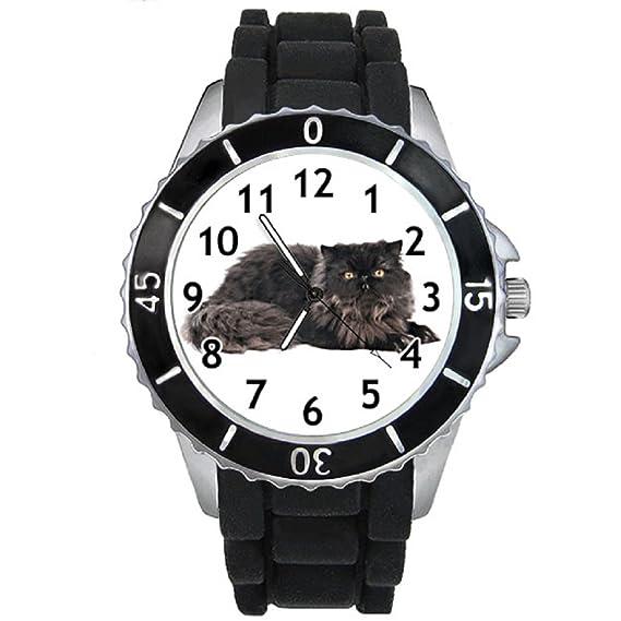 Gato Persa Reloj para mujer con correa de silicona negro: Timest: Amazon.es: Relojes