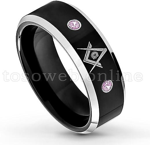 Men/'s Pink Tourmaline Solitaire Wedding Band 8mm 2-Tone High Polish Black IP Tungsten Carbide Ring TS1182 October Birthstone Ring