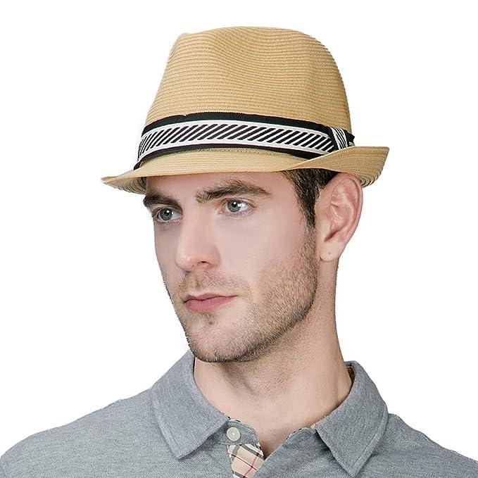 d1063a8be6f Jeff   Aimy Womens Summer Fedora Straw Trilby Beach Panama Derby Safari Sun  Hat Crushable Adjustable