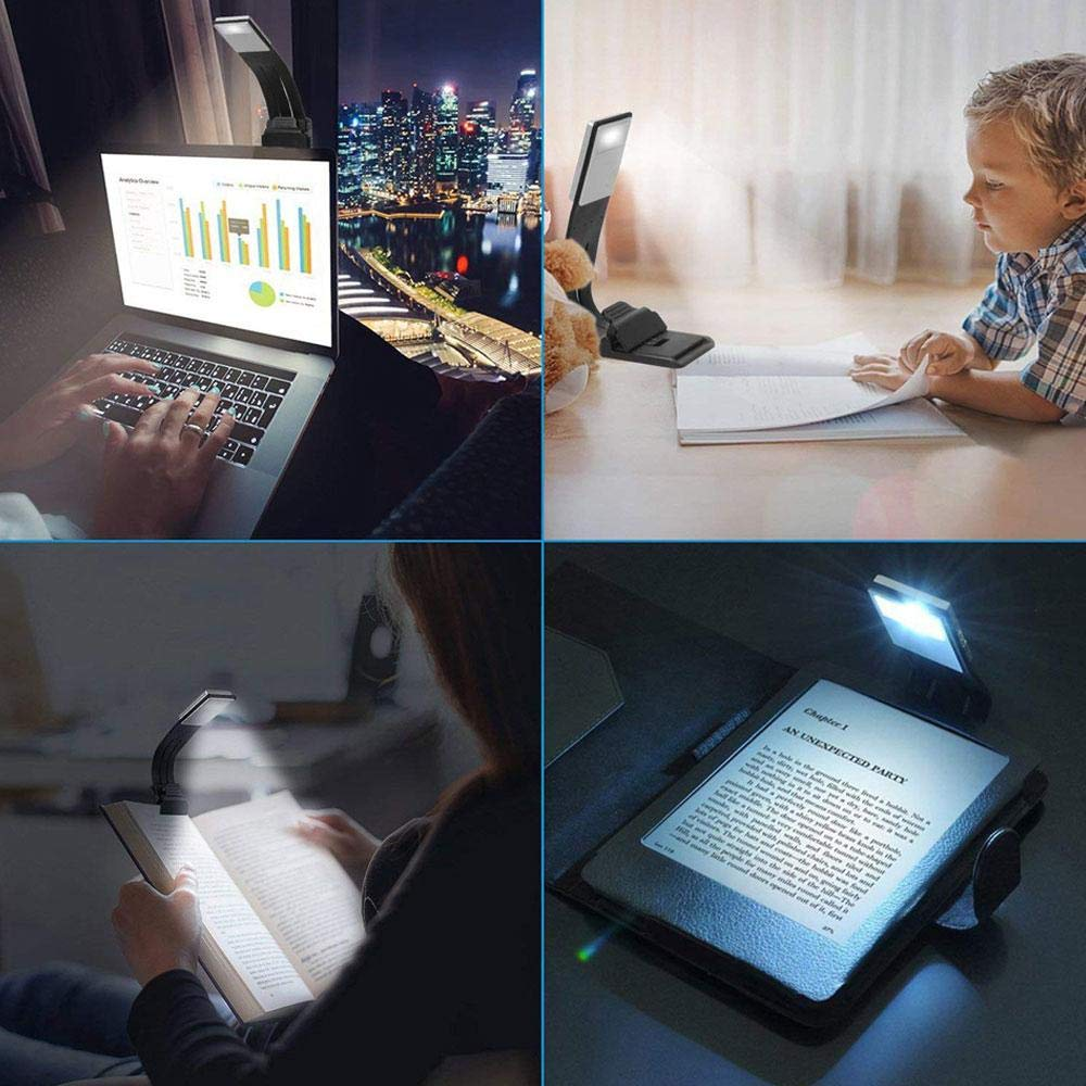Kids Volwco Eye-Care 3 Brightness Modes Adjustable Upgraded LED Reading Light,Portable Book Light USB Rechargeable, ,Flexible Clip On Book Light For Reading In Bed,Kindle,Tablet,E-reader,Travel