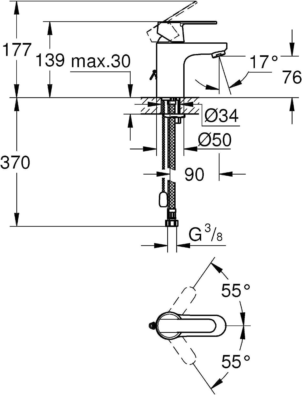 Grohe 32884000 Get  Mitigeur Monocommande pour Lavabo avec Cha/înet te R/étractable