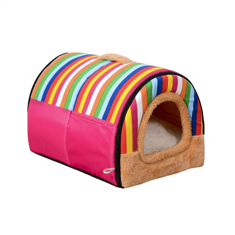 B Small2 in 1 Pet Dog Cat House and Sofa with Foldable Washable Removable Soft Warm Nest Cave Bed Removable Cushion for Dog and Cat