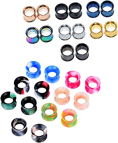 Longbeauty 20 Colors Soft Silicone Flexible Ear Skin Tunnels Plugs Expanders Gauges Body Piercing 2g-3//4