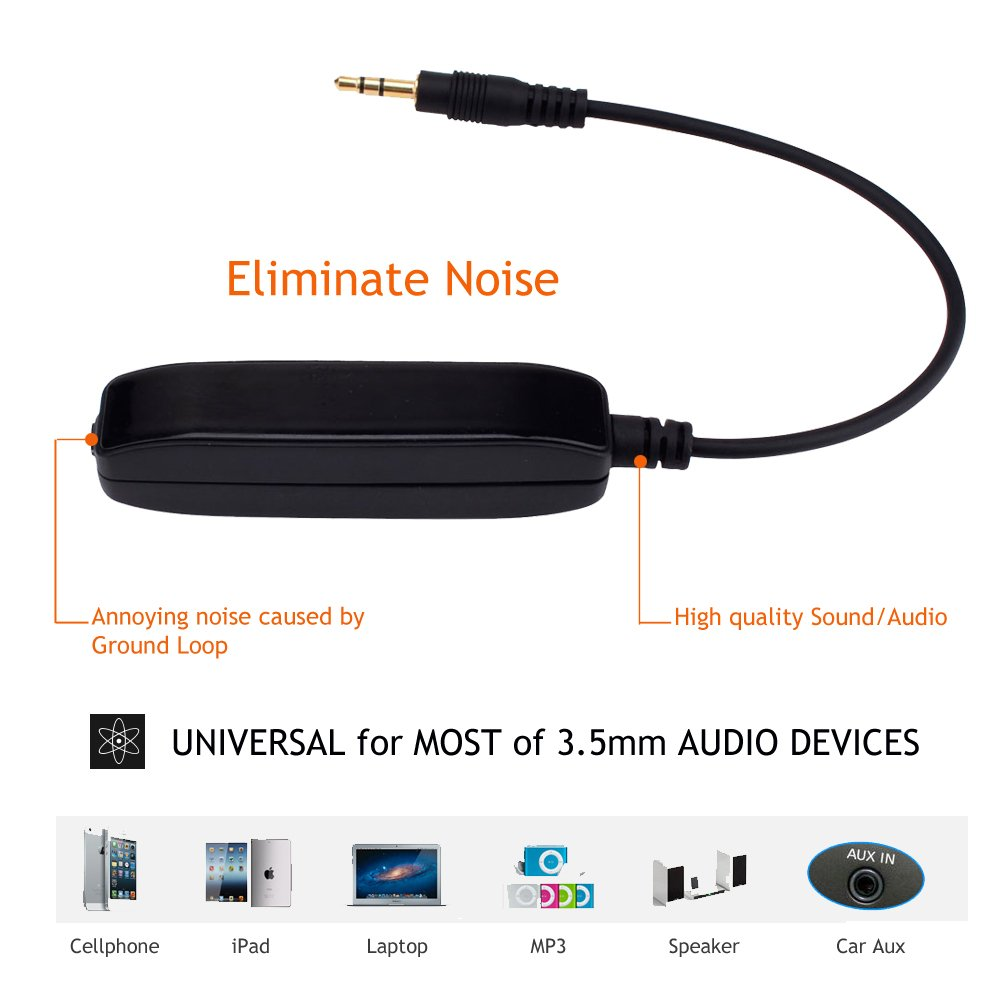 Noise Filter Ground Loop Isolator Eliminate Car Electrical Noise with permalloy core Transformers 3.5mm Audio Cable Black QY QY220