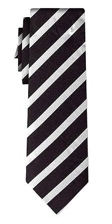 Desconocido corbata de seda rayada stripe 1cm white black: Amazon ...
