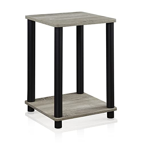 FURINNO Turn-N-Tube Haydn End Table, 1-Pack, French Oak Grey Black