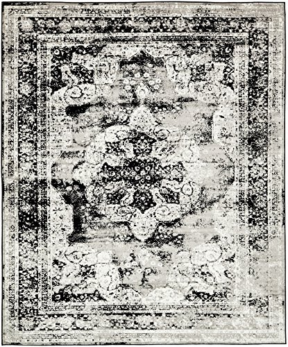 Unique Loom Sofia Collection Black 8 x 10 Area Rug (8' x 10') - Patio Border Rug