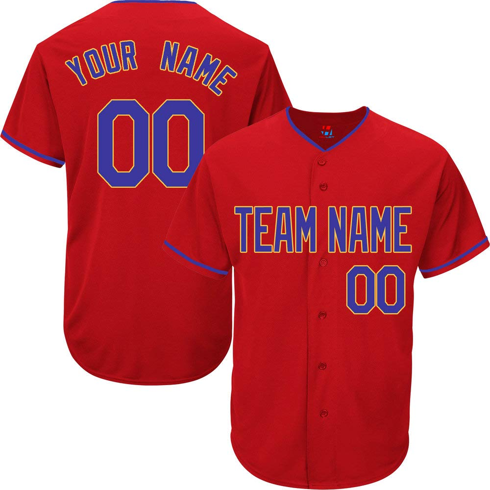 Red Custom Baseball Jersey for Men Practice Embroidered Your Name & Numbers,Royal Blue-Yellow Size 2XL by Pullonsy