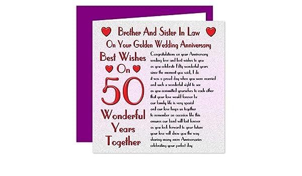 Tarjeta de 50 aniversario de boda para hermano y cuñada - en tu ...