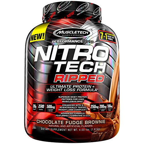 MuscleTech Nitro Tech Ripped Ultra Clean Whey Protein Isolate Powder + Weight Loss Formula, Low Sugar, Low Carb, Chocolate Fudge Brownie, 4 Pounds