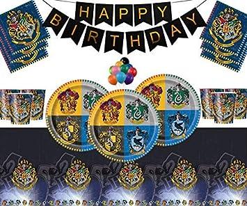 Harry Potter Artículos para la Fiesta Platos de Papel Vasos Servilletas Feliz cumpleaños Paquete de Globos sin pancartas Gratis para 16 Personas