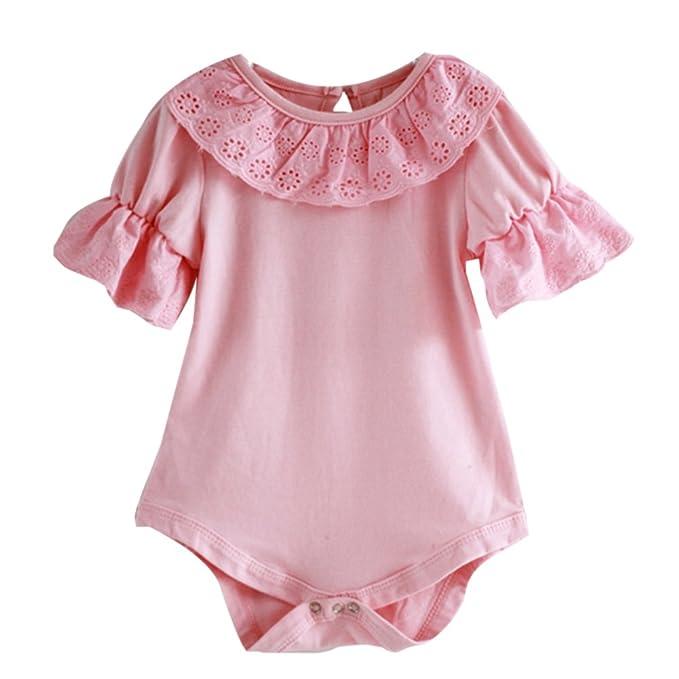 Amazon.com: weixinbuy bebé Girls de bebé de algodón encaje ...