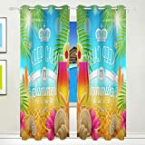 Vantaso Light Shading Window Curtains Keep Calm Summer Time Cocktail Flowers On Beach Polyester 2 Pannels for Kids Girls Boys Bedroom Living Room 84 inch x 55 inch