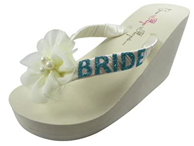 Amazon.com | Bride Wedge Flip Flops Wedding Bridal Bling Ivory ...