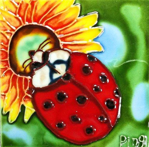 Ladybug Ceramic Tile (Continental Art Center SD-051 4 by 4-Inch Ladybug Ceramic Art Tile)
