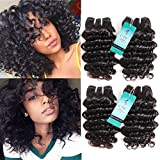 UDU Brazilian Deep Wave Hair 4 Bundles Deal Short Curly Hair Weave 8inch 200g/lot Deep Curly Hair Bundles 7a Unprocessed Human Hair Curly Natural Color (Deep Wave)
