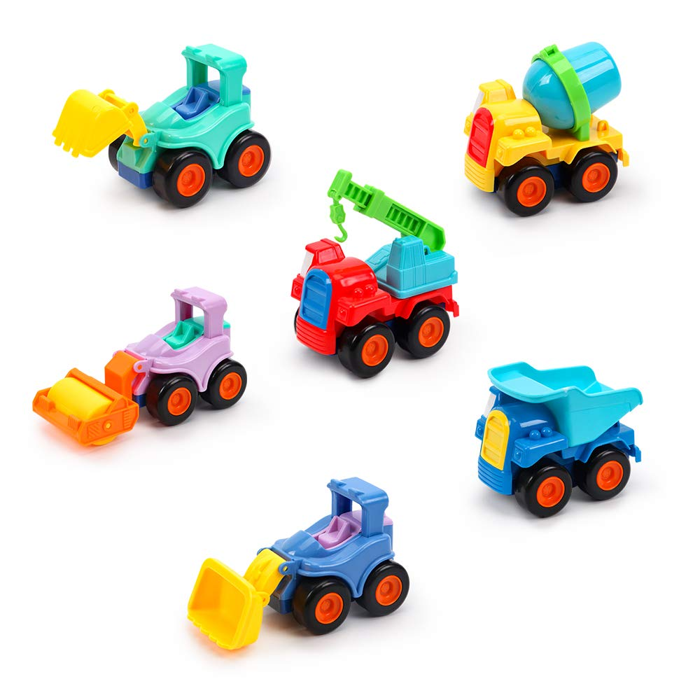 beiens 6 Pack Friction Powered Cars Construction Vehicles Toy Set Cartoon Push and Go Car Tractor, Bulldozer, Cement Mixer Truck, Road Roller for Baby Boy Girl Toddler Baby Kid Gift