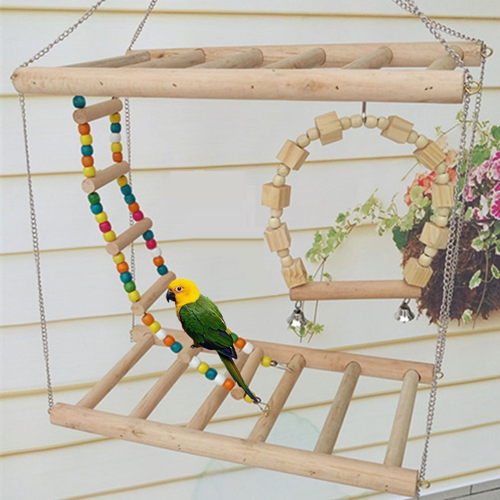 Bird Wood Double Perch Ladder Bendable Ladder and Swing Perch Sets Toys for Bird Parrot Macaw African Greys Budgies Parakeet Cockatiel Cockatoo Conure Lovebird Finch Perch (A: 7.87in3.93in7.87in) by Peety (Image #1)